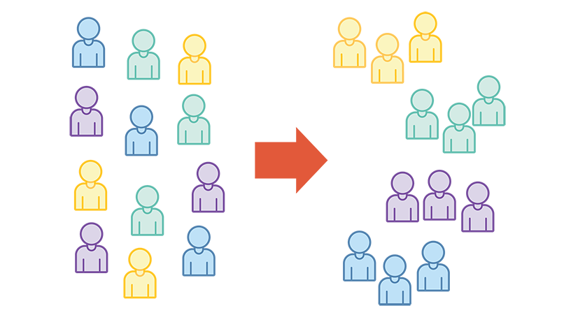 An illustration depicting a cross-functional agile software development team