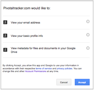 Dialogue for granting Pivotal Tracker access to Google files