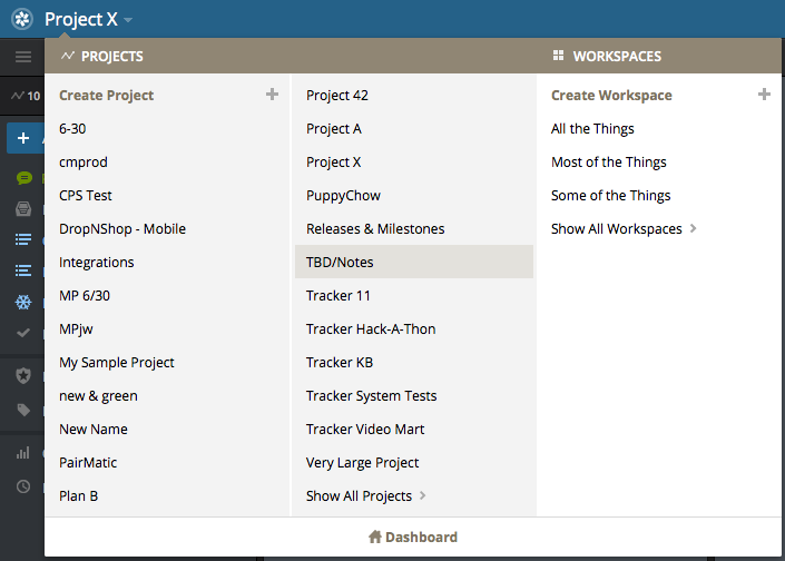 Workspaces dropdown in Pivotal Tracker