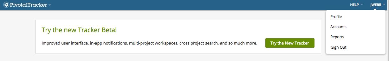 The user menu in Pivotal Tracker