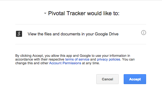 Allowing Pivotal Tracker permission to access your Google files