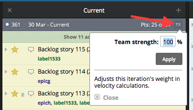 The Team Strength setting in Pivotal Tracker