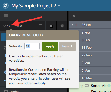 Overriding velocity in Pivotal Tracker