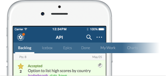 Accessing project panels int he Pivotal Tracker iOS app