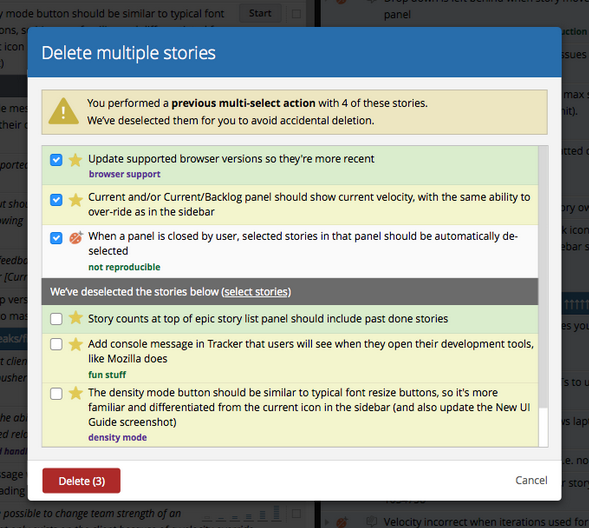 The dialogue for deleting multiple stories in Pivotal Tracker