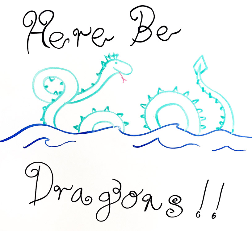 Drawing of Here be dragons