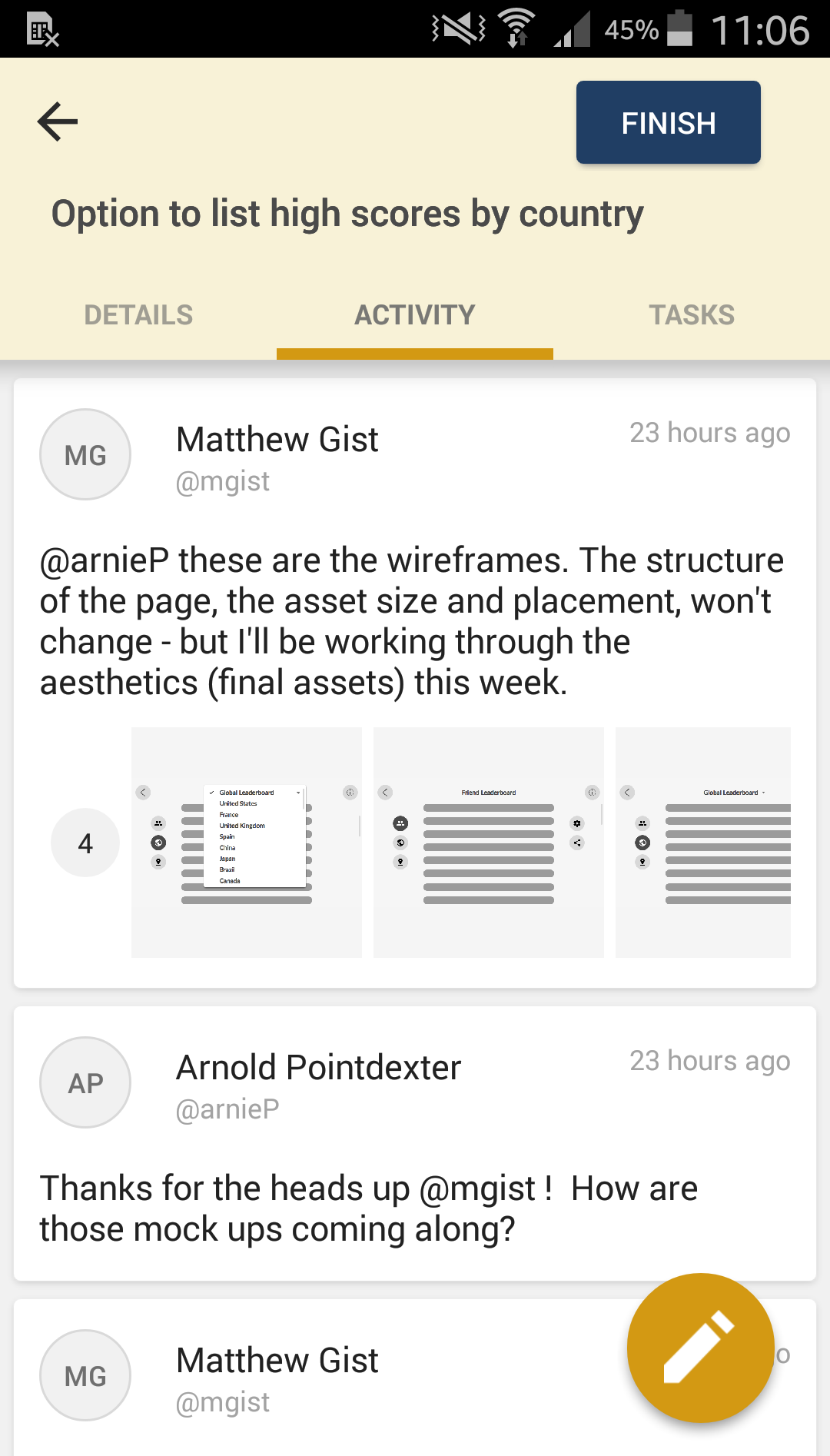 Story activity in the Pivotal Tracker Android app