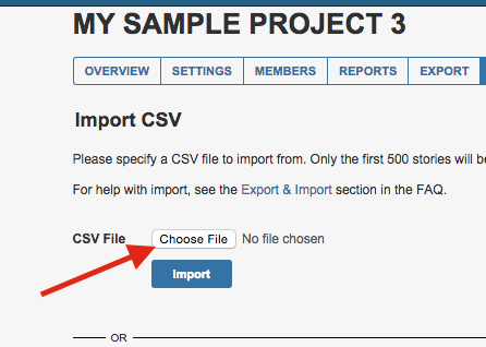 Choosing a CSV file to import