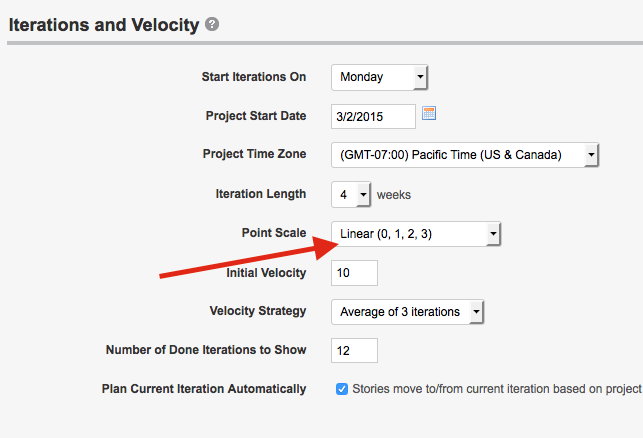 Setting iterations and velocity in Pivotal Tracker