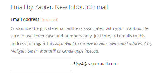Create your inbound Zapiermail mailbox