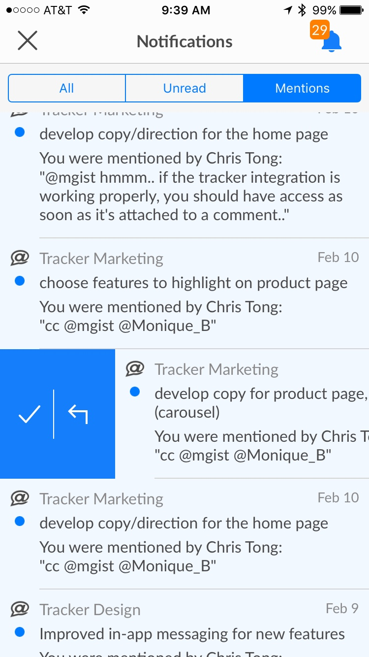 Screenshot of Notifications panel in the new Pivotal Tracker iOS app