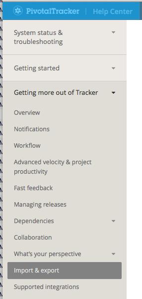 The new Pivotal Tracker Help menu