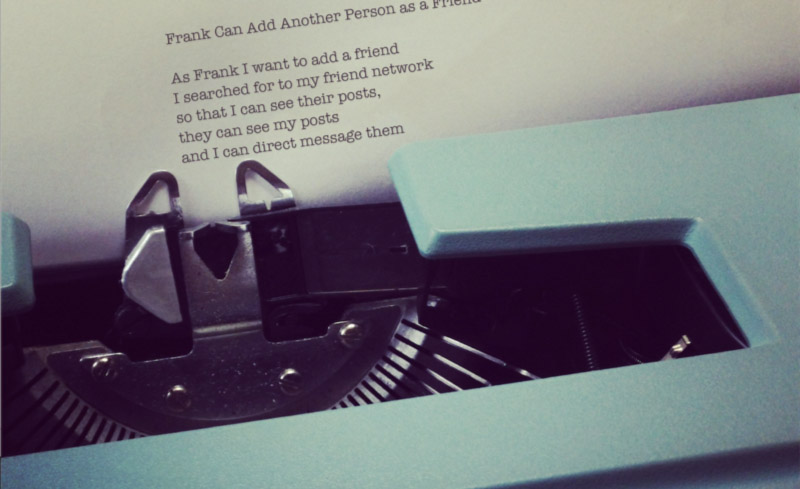 Writing a user story on a typewriter