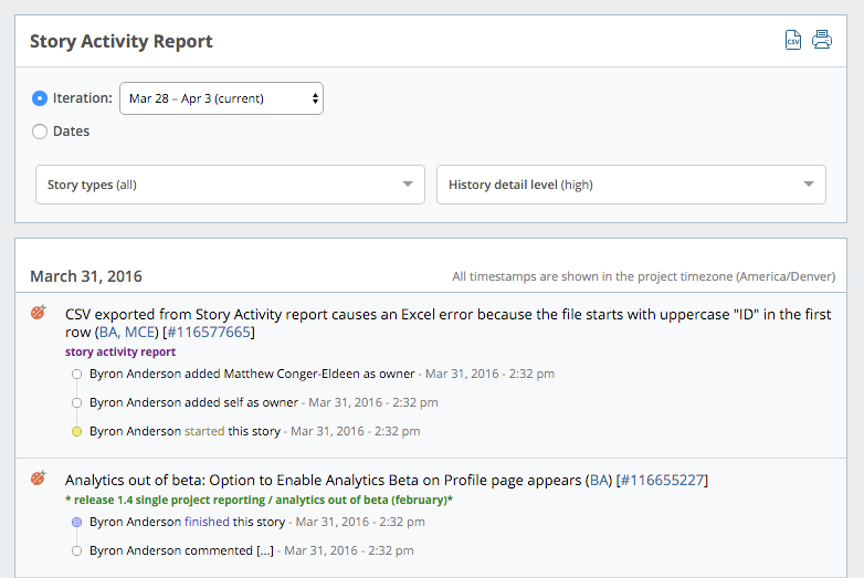 Story Activity in Pivotal Tracker