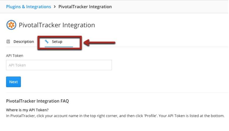Clicking Setup to finish the Pivotal Tracker integration
