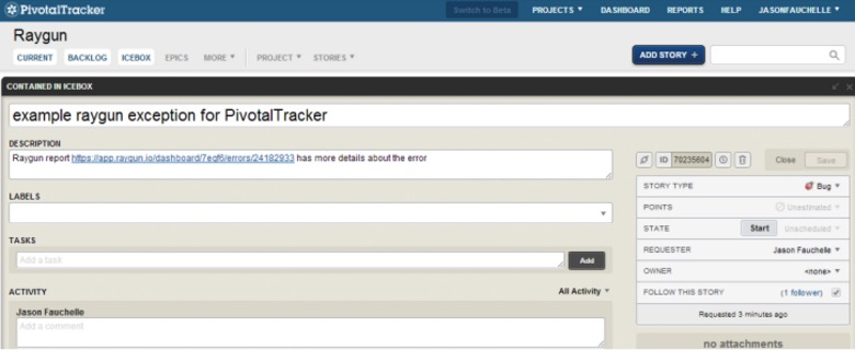 Using Raygun with Pivotal Tracker