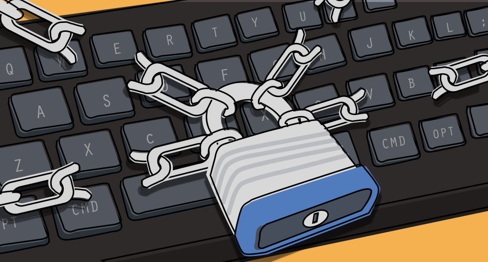Illustration of a keyboard being hacked.