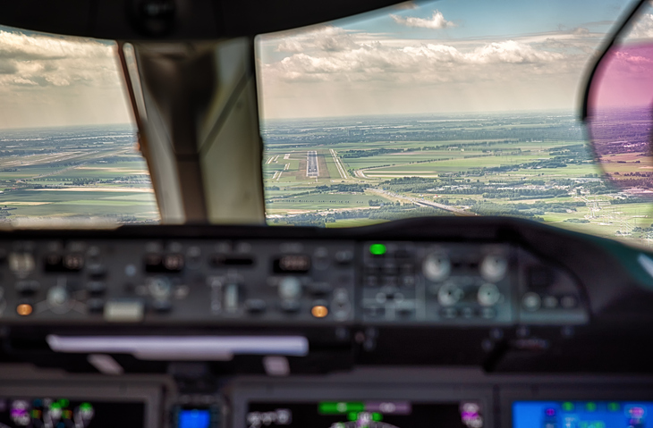View from the cockpit of a plane landing.