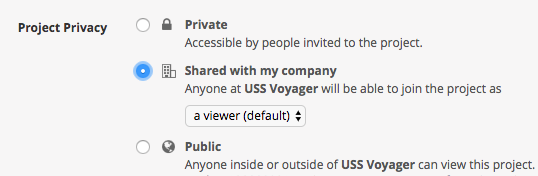 Screenshot showing privacy level settings in Pivotal Tracker.