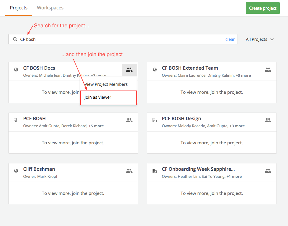 Screenshot showing project member permissions in Pivotal Tracker.