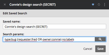 Editing a saved search in Pivotal Tracker.