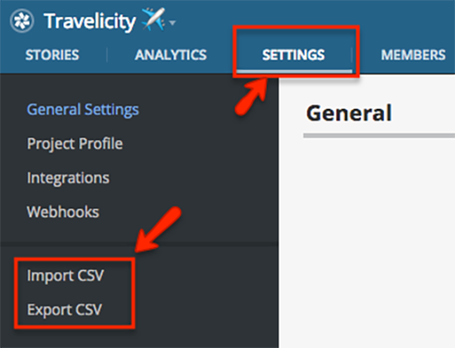 Tracker has Import CSV and Export CSV options.