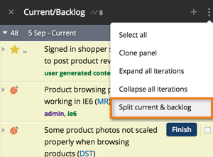 Use Split current and backlog or Combine current and backlog in the Panel actions menu at the top of the panel to split or combine Current and Backlog.