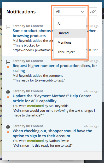 Revamped in-app notifications in Pivotal Tracker
