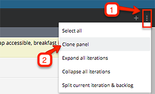The Clone panel option in the Story Actions menu.