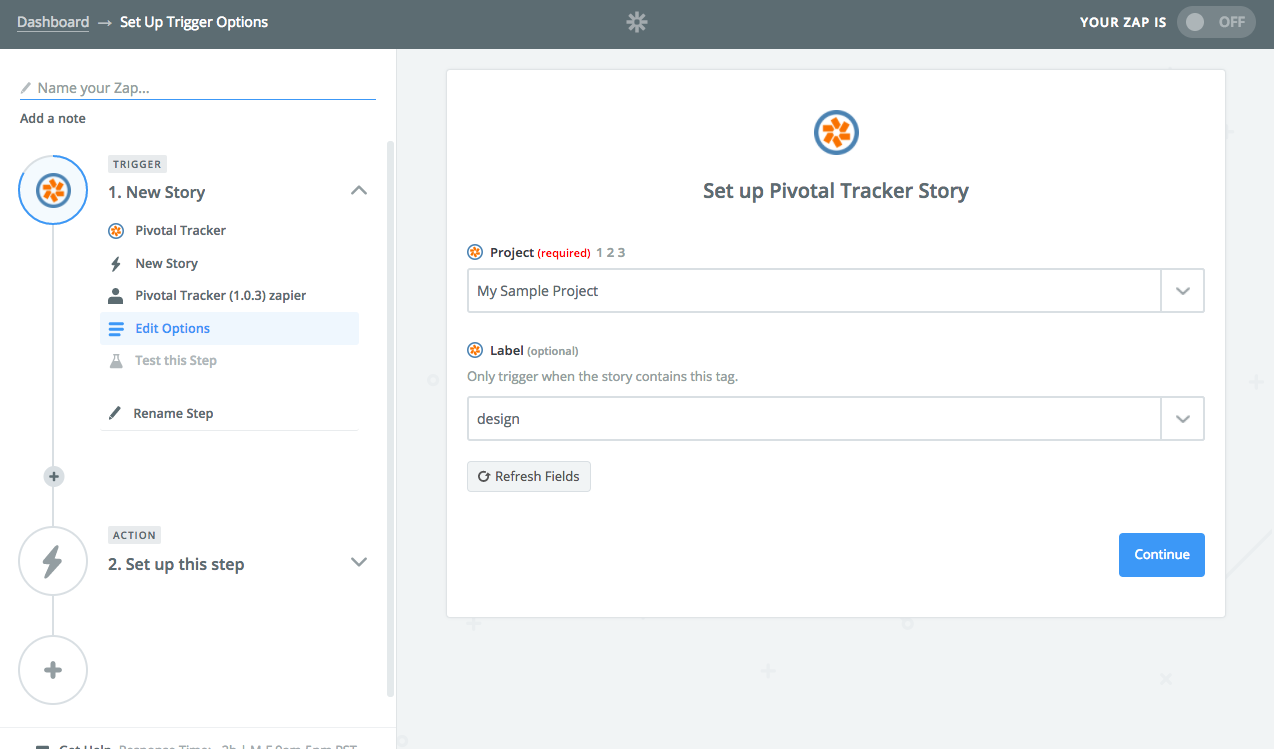 Select the Pivotal Tracker project you want Zapier to watch for new stories and choose if you'd like Zapier to only watch for projects with certain labels.