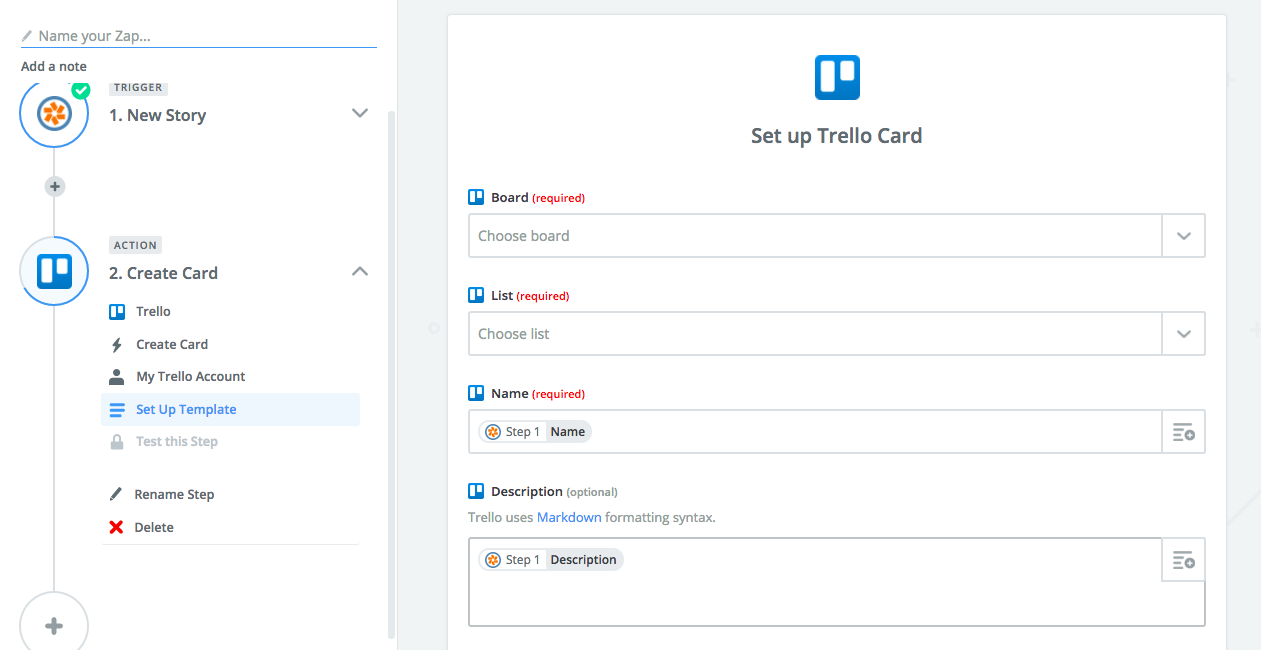 Use the dropdowns in each Trello field to map the Pivotal Tracker data to Trello.