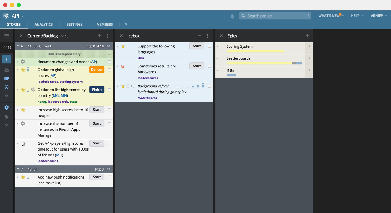 Pivotal Tracker automatic velocity and iterations for agile software teams