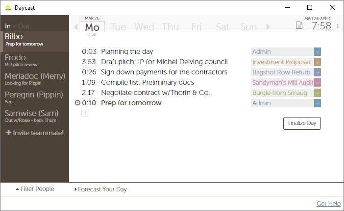 Plan your day, track your time, update your team—own your day with Daycast.